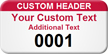 Customizable Numbered Asset Tag with Custom Header
