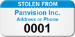 Custom Stolen From Numbered Asset Tag