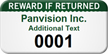 Customized Reward If Returned Asset Tag with Numbering