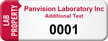 Customized Lab Property Asset Tag with Numbering