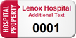 Hospital Property Custom Asset Tag with Numbering