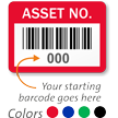 Asset Number Labels with Barcode (Pack of 100)