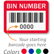 BIN NUMBER Label, barcode, pack of 1000