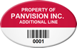 Custom Oval Bar Coded Asset Tag