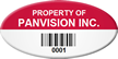 Custom Oval Asset Tag with Barcode Number