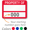 PROPERTY OF ____ (blank), with numbering
