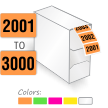 2001 to 3000 Color Coded Sequential Number Labels