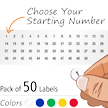 Sequential Number Circular Vinyl Labels Sheet